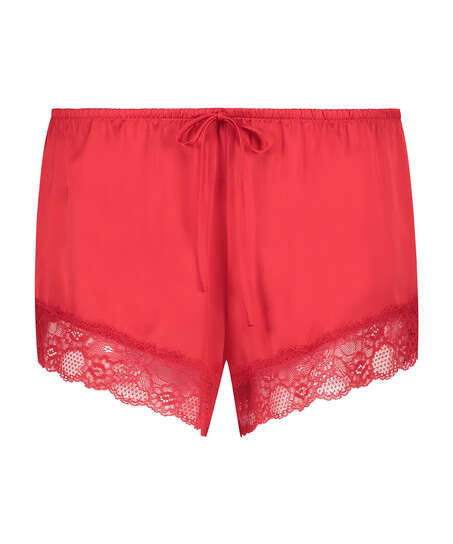 Satin pyjama shorts, Red