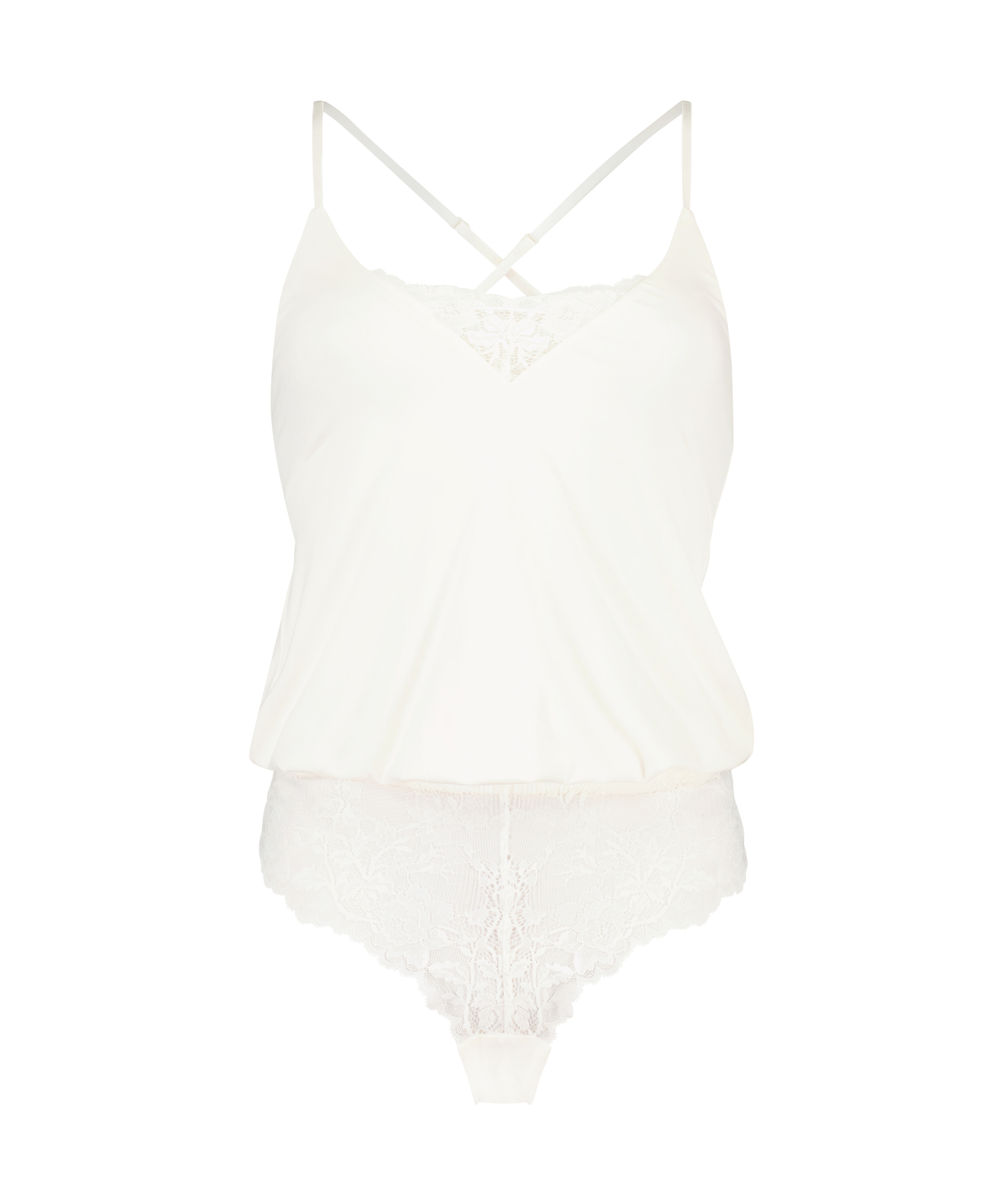 Jersey Lace Teddy, White, main