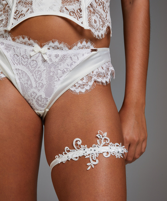 Noir Guipure Lace Garters, White