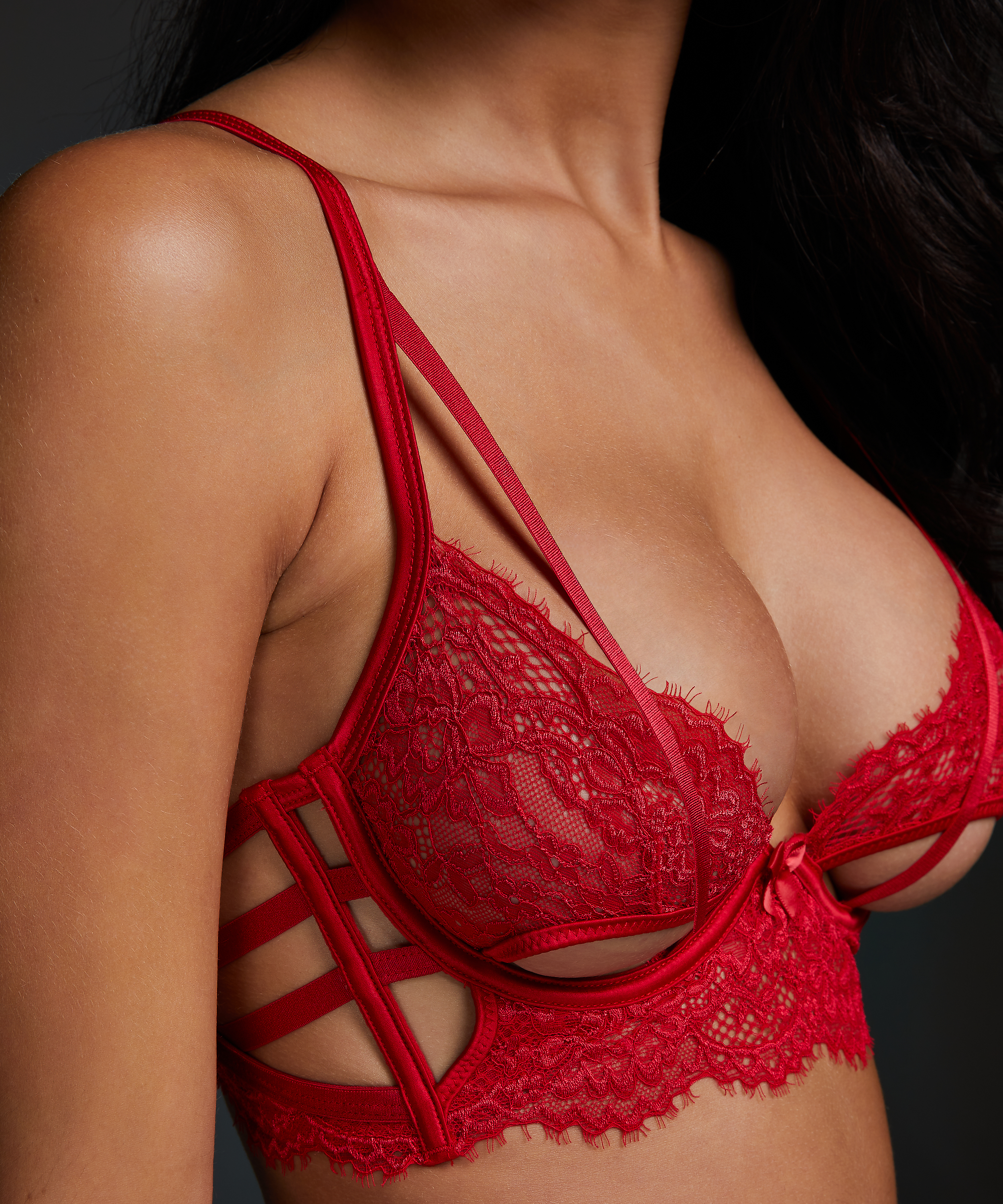 Eve Non-Padded Longline Underwired Bra, Red, main
