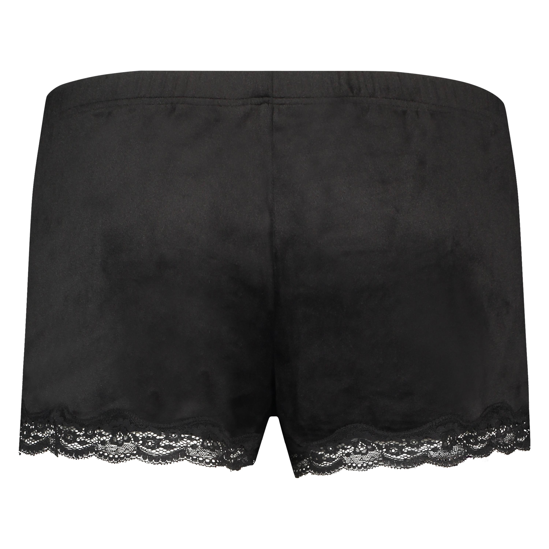 Velvet lace shorts, Black, main