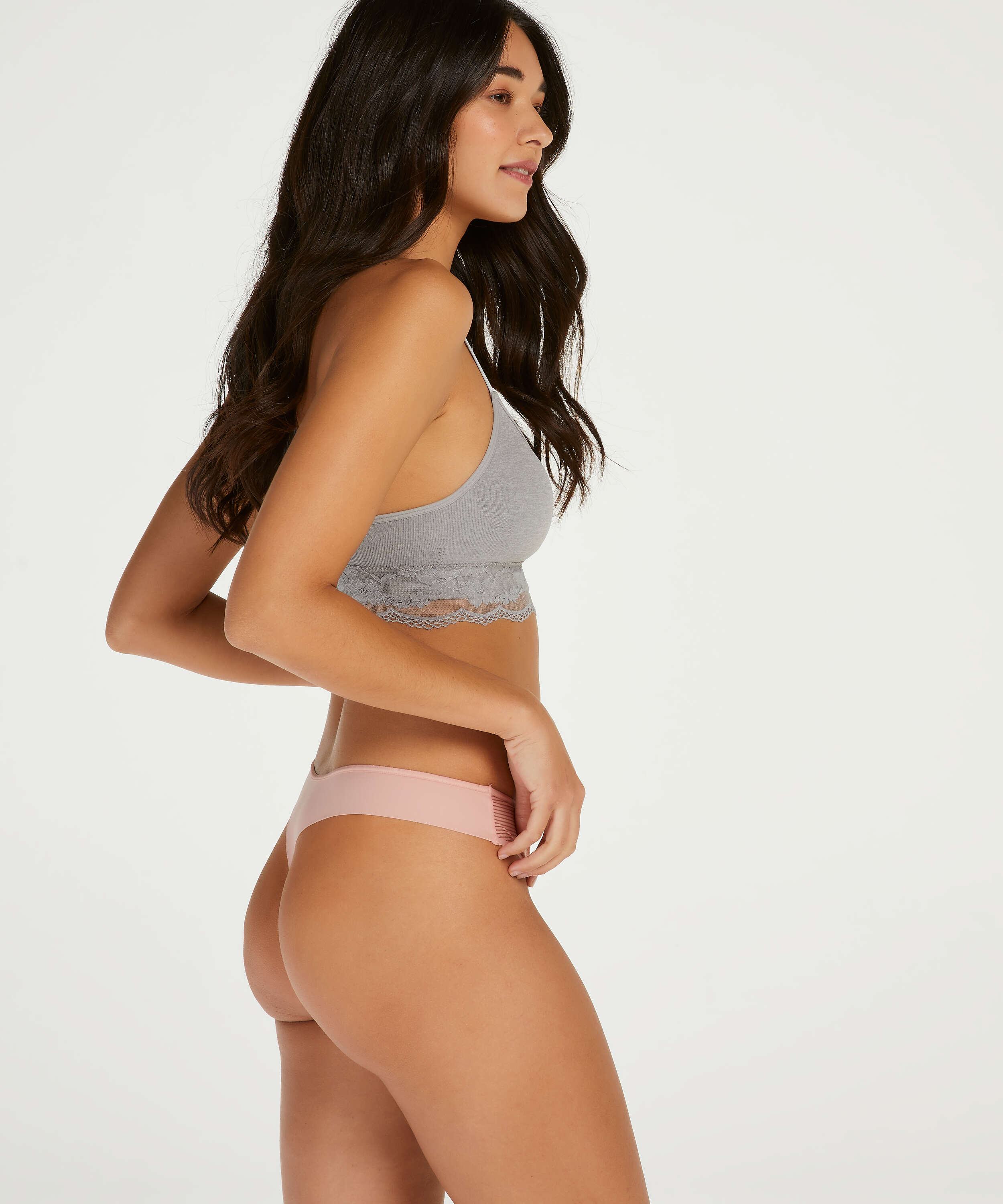 Burned Out Stripe Invisible Thong, Pink, main