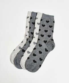 2 Pairs Cotton Socks, Grey