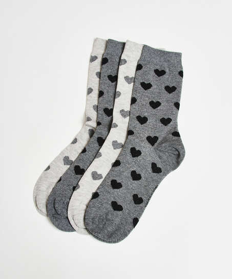 2 Pairs Cotton Socks, Grey