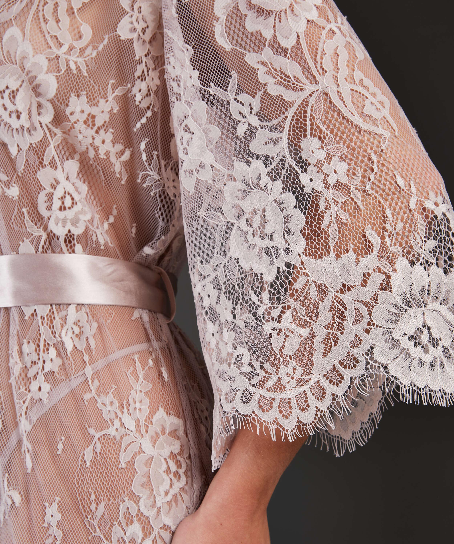 Long Allover Lace Kimono , Beige, main