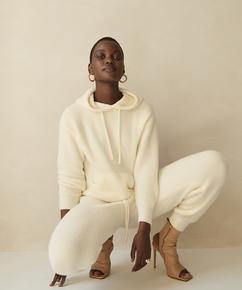Premium Fluffy Long-Sleeved Hoodie, White