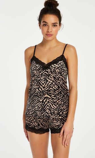 Zebra velvet cami top, Black