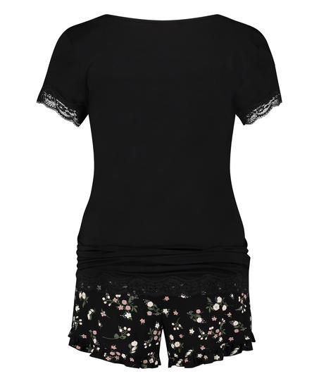 Pregnancy pyjama set Ditzy Flower, Black
