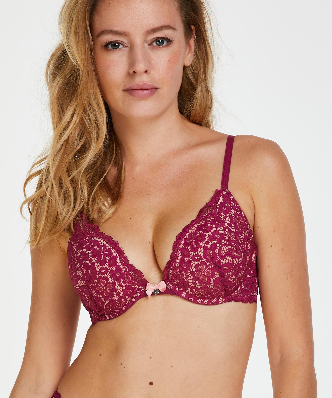 Rose padded push-up bra, Purple, main