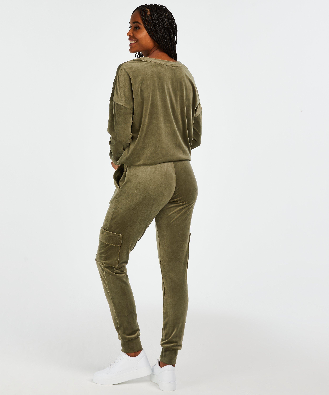 Long-sleeved Velours top, Green, main