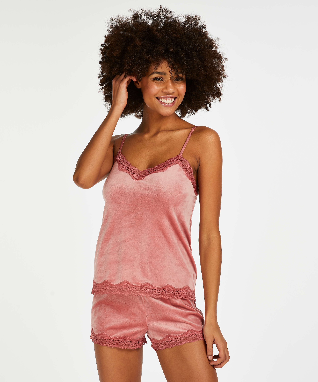 Velvet lace cami, Pink, main