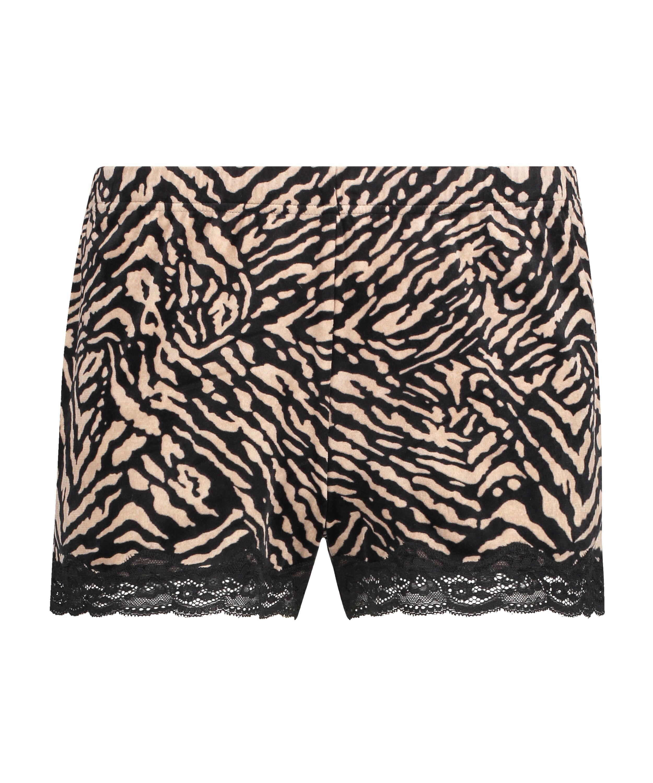 Zebra velvet shorts, Black, main