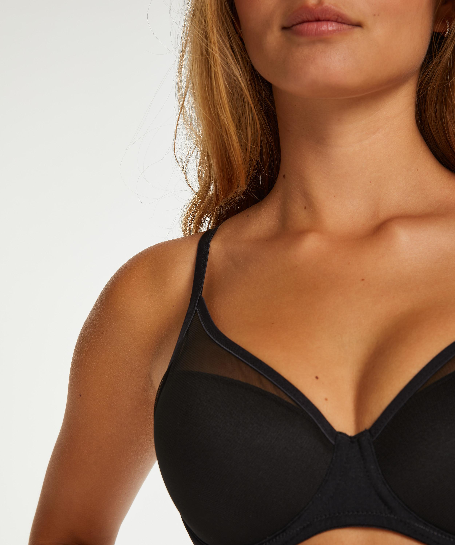 Mesh non-padded underwire bra, Black, main