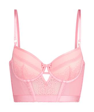 Malika padded longline underwired bra, Pink