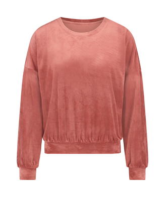 Long-sleeved Velours top, Pink