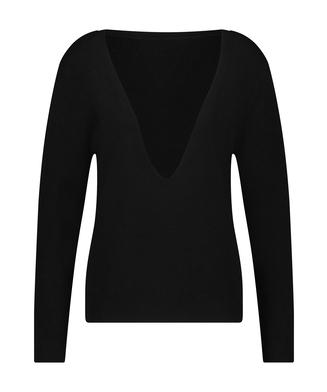 Premium Ribbed Long-Sleeved Top, Black