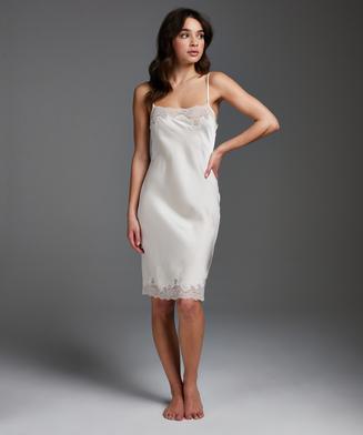 Satin Lace slip dress, Beige