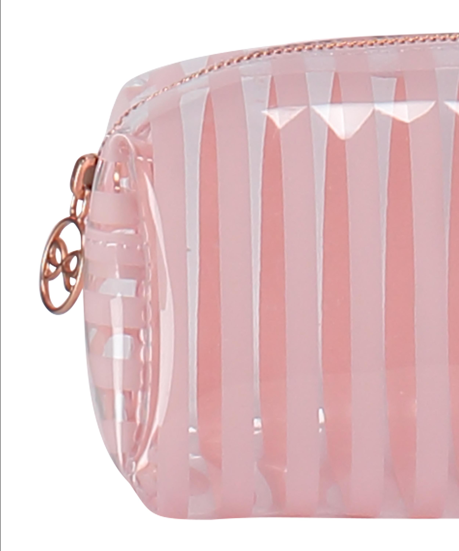 Stripe Plastic Make Up Bag, Pink, main
