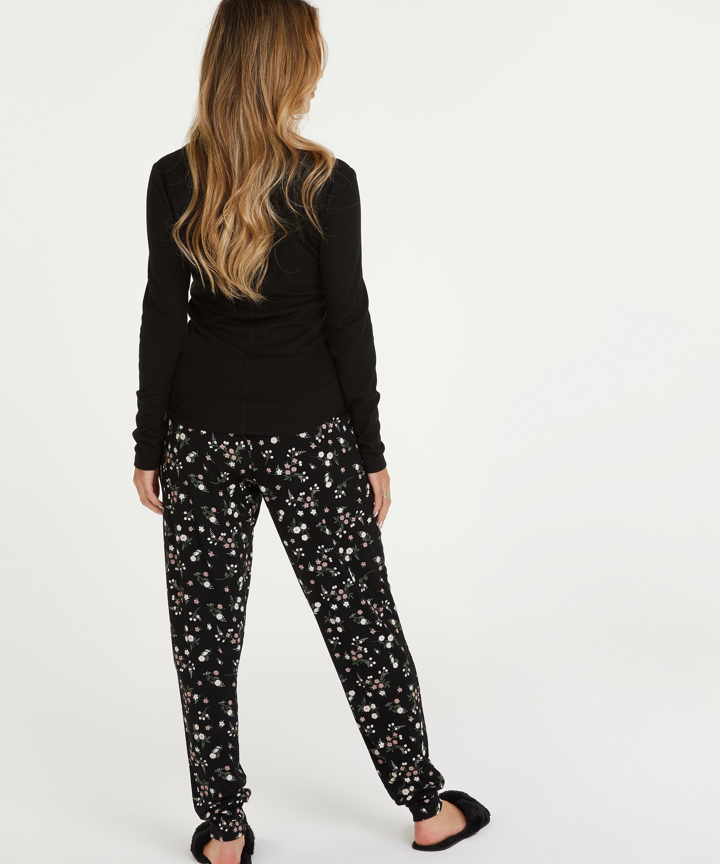 Long-Sleeved Pyjama Top , Black, main