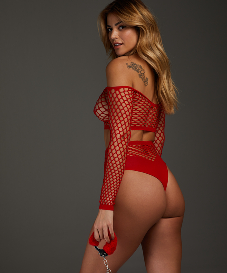 Private Fishnet Set, Red