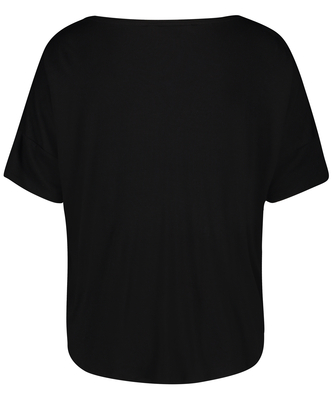 Jersey short sleeve top, Black, main