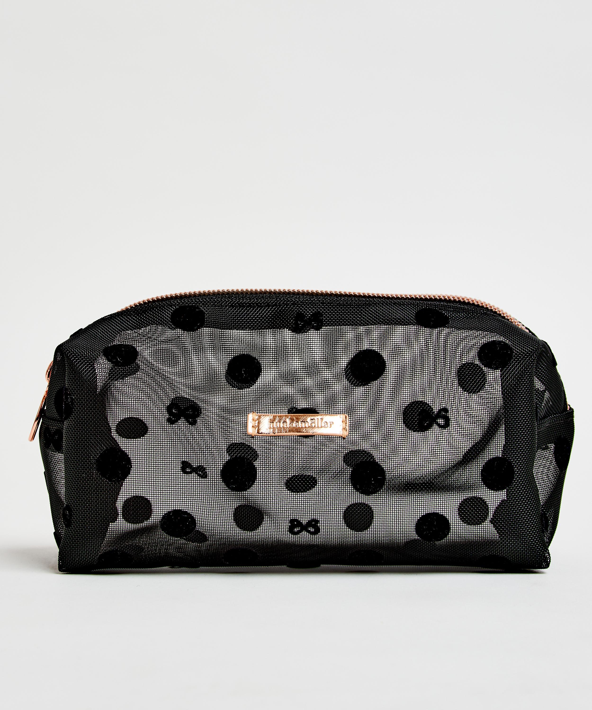 Dotted Mesh Make-Up Bag, Black, main