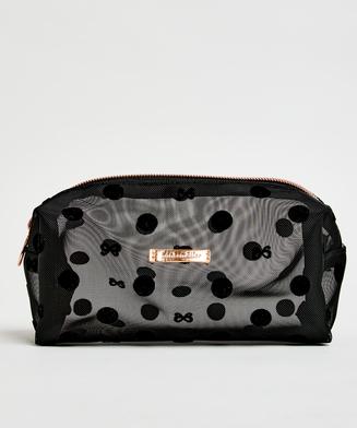 Dotted Mesh Make-Up Bag, Black