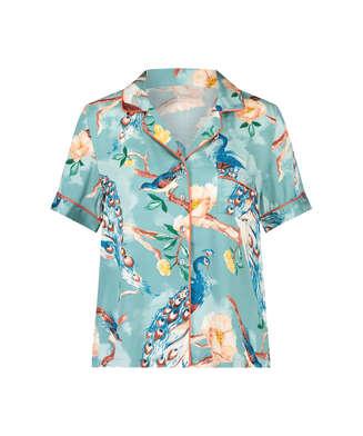 Painted Peacock short sleeve Pyjama Top, Blue