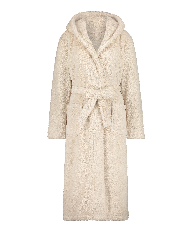 Long Fleece Bathrobe, Beige, main