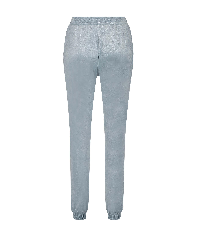 Petite Velour Jogging Pants Pin-tucked, Blue, main
