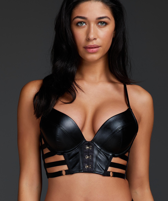 Vicky padded underwired push-up bra, Black, main