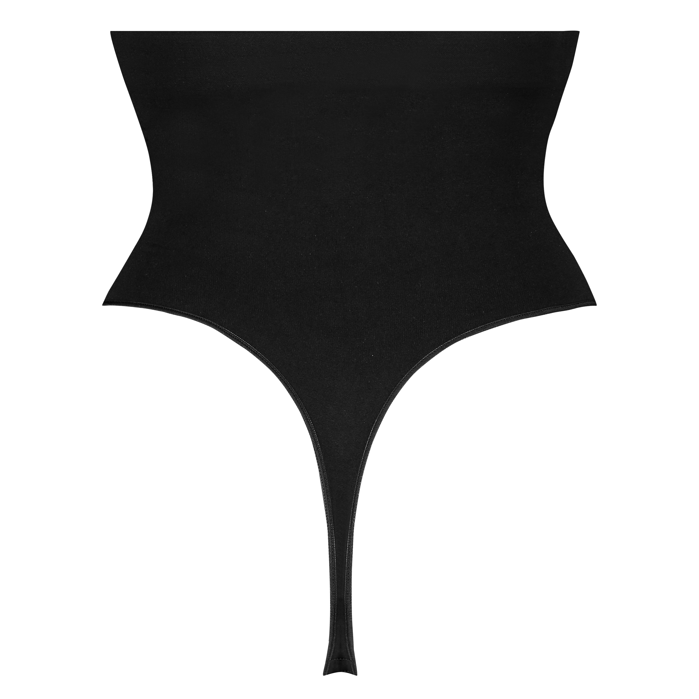 Firming high waisted thong - Level 2, Black, main