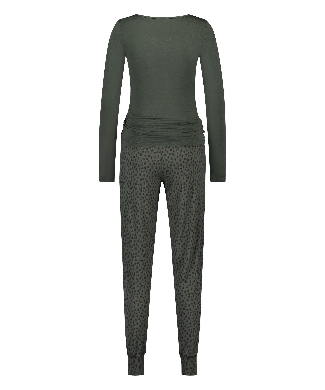 Dot Leopard Lace Pyjama Set, Green, main