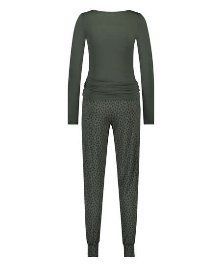Dot Leopard Lace Pyjama Set, Green