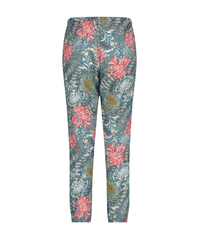 Tall Woven pyjama bottoms, Green, main