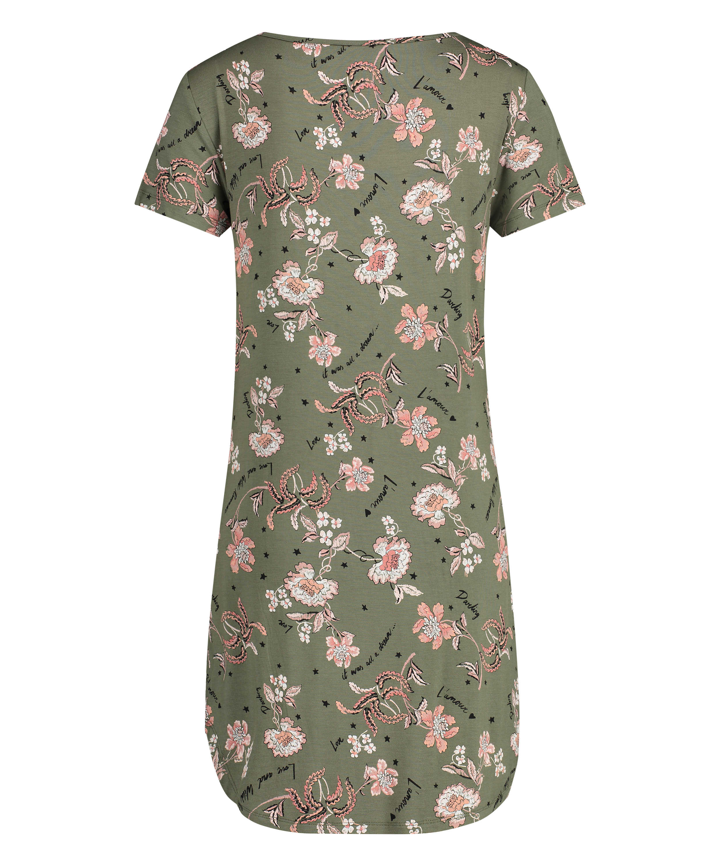 Flower Words Short-Sleeved Nightshirt, Green, main