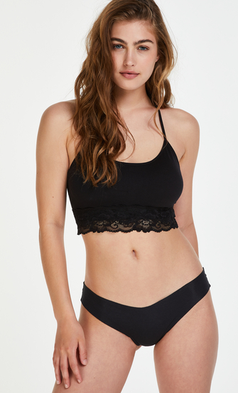 Invisible cotton thong, Black