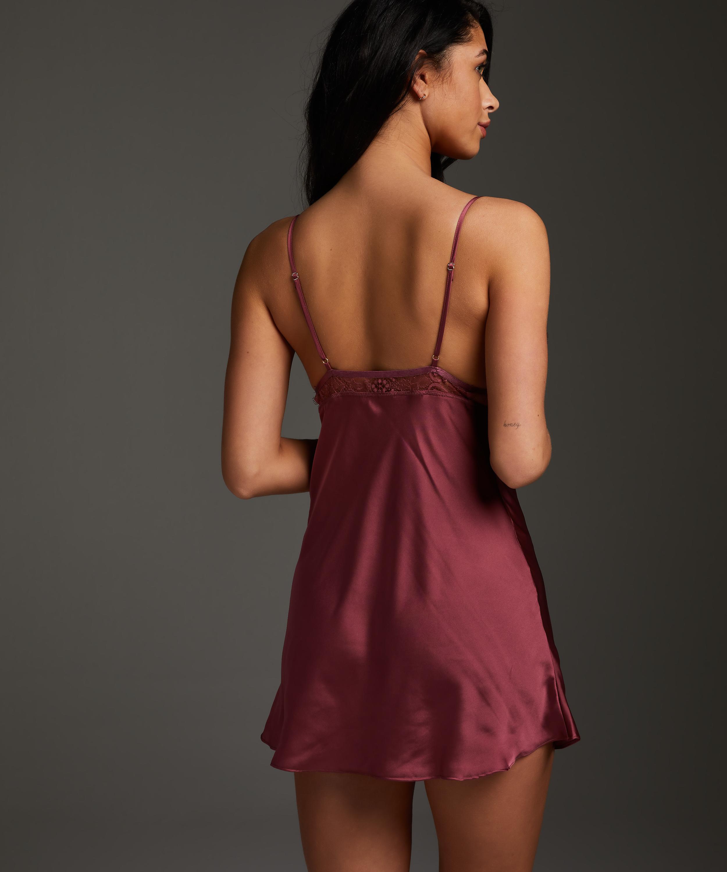 Satin Holly slip dress, Red, main