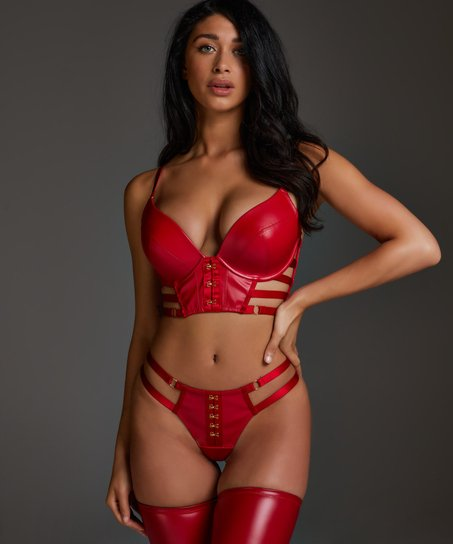 Vicky padded underwired push-up bra, Red