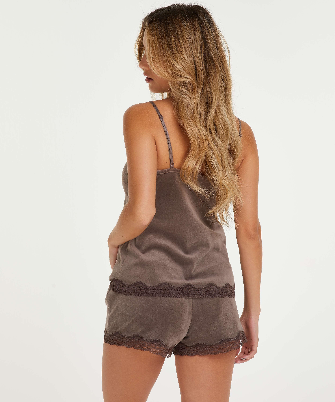 Velvet lace shorts, Brown, main