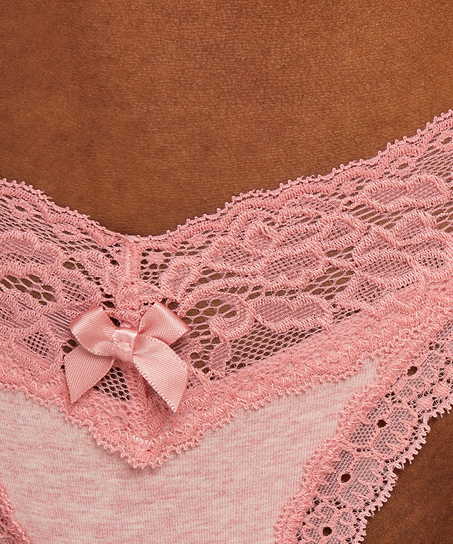Cotton extra low thong, Pink