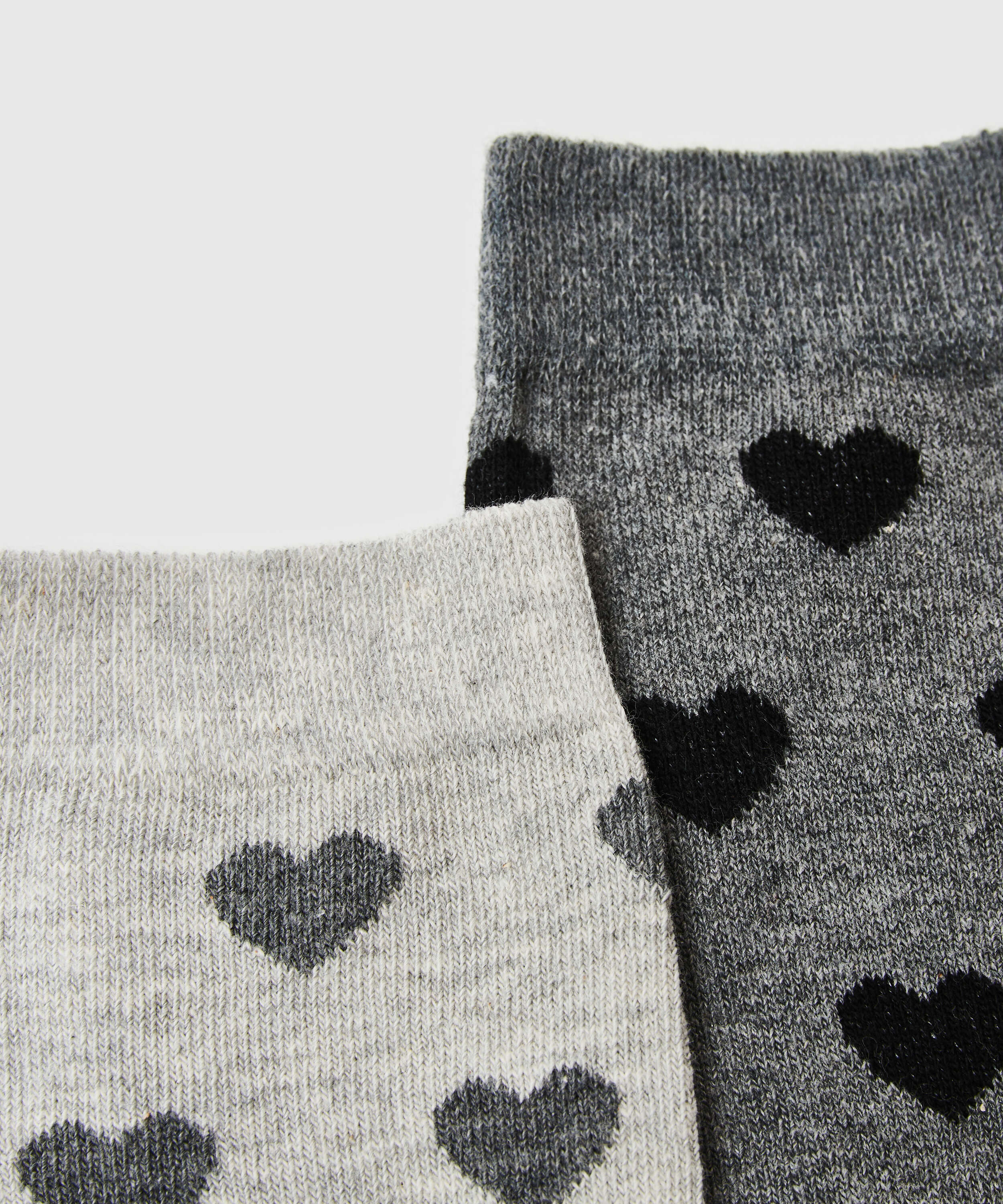2 Pairs Cotton Socks, Grey, main