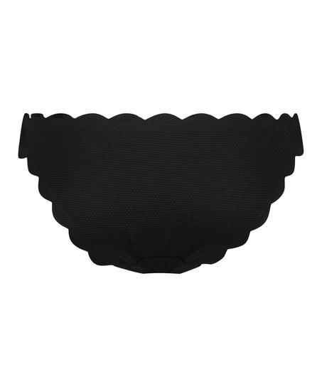 Scallop Glam low rio bikini bottoms, Black