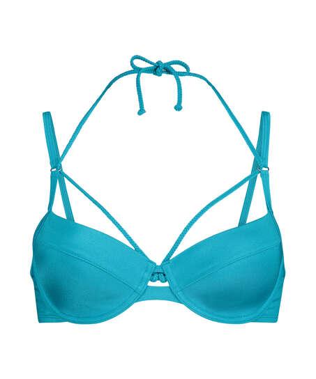 Celine padded underwired bikini top, Blue