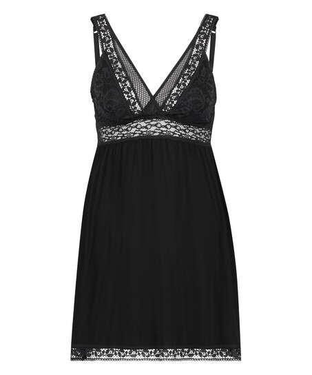 Grafic jersey lace slip dress, Black