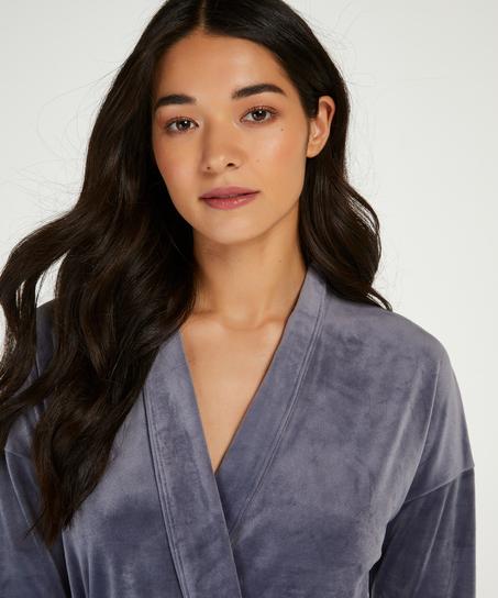 Velours short bathrobe, Grey