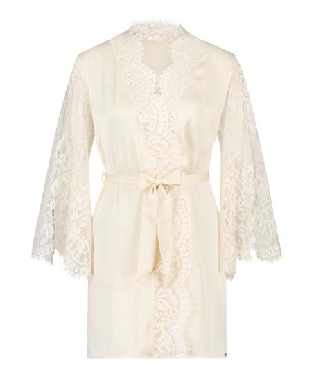 All-Over Lace Kimono, Beige