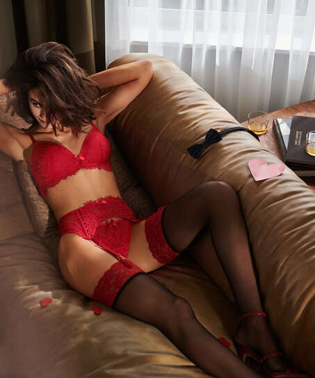 Stocking 15 Denier Fancy Lace Top, Red