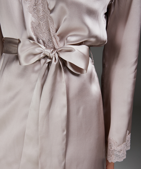 Silk lace trim kimono, Pink