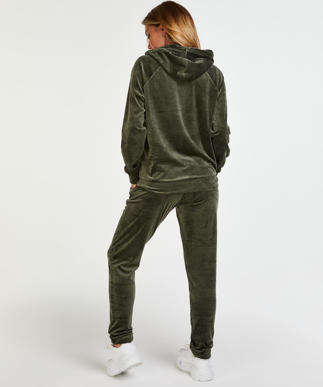 Velours Jogging bottoms, Green, main